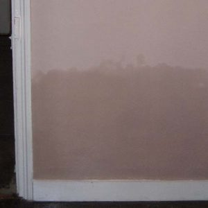 Rising damp in a property without a dpc you can see the moisture coming through the plaster