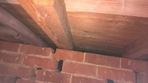 Damp Surveys inspecting under floorboards and floor joists