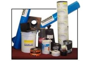 An assortment of damp proofing products dpc, mesh membrane tanking, tanking compounds, damp proof paints
